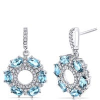 Oravo Sterling Silver 3-carat Swiss Blue Topaz Dhalia Drop Earrings