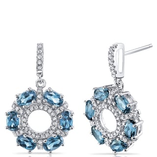 Oravo Sterling Silver London Blue Topaz and Cubic Zirconia Dhalia Drop Earrings