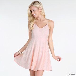 Nikibiki Women's Oatmeal Nylon/Rayon/Cotton Lace Cross-back Sleeveless Skater Dress
