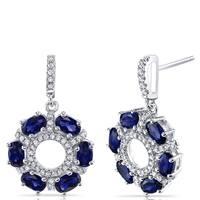 Oravo Dhalia Sterling Silver 3-carat Created Blue Sapphire Drop Earrings