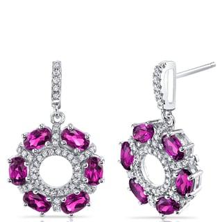 Oravo Sterling Silver 3-carat Created Ruby Dhalia Drop Earrings