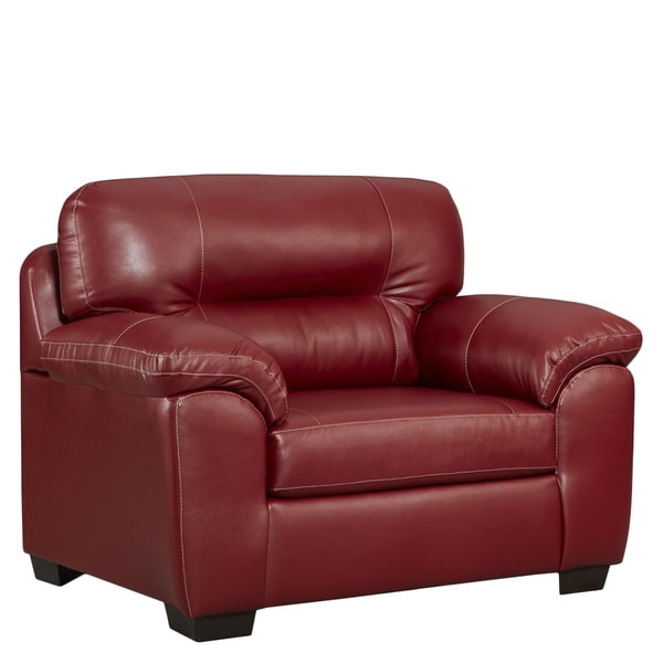 Shop Oliver Amp James Aarts Red Faux Leather Oversized Chair