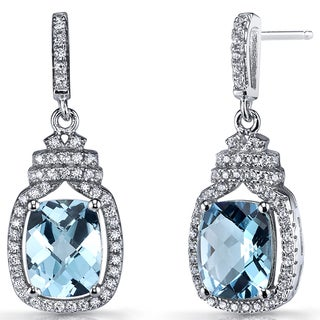 Oravo Sterling Silver 4.5-carat Swiss Blue Topaz Halo Crown Dangle Earrings