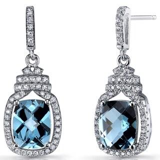 Oravo Sterling Silver 4.5-carat London Blue Topaz Halo Crown Dangle Earrings