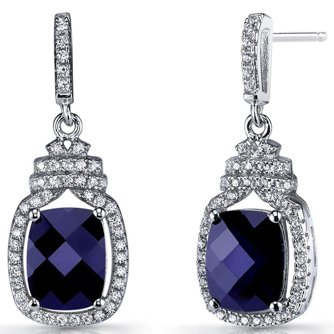 Teardrop Halo White Sapphire Dangle Drop Stud Earrings 925 Sterling Silver