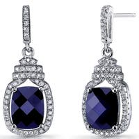 Oravo Blue Sapphire Sterling Silver 5.5-karat Halo Crown Dangle Earrings