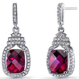Oravo Sterling Silver 6-carats Created Ruby Halo Crown Dangle Earrings