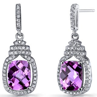 Oravo 5.5-karat Created Pink Sapphire Sterling Silver Halo Crown Dangle Earrings