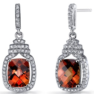 Oravo Red/Orange Padparadscha Stones and Sterling Silver Metal Halo Crown Dangle Earrings