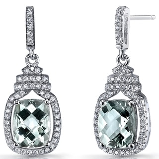 Oravo Sterling Silver, 3.5-carat Green Amethyst, and Cubic Zirconia Halo Crown Dangle Earrings
