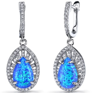 Oravo Nebula Sterling Silver Blue Opal Dangling Earrings
