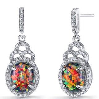 Oravo Sterling Silver 3-carat Created Blue Opal Harlequin Dangling Earrings