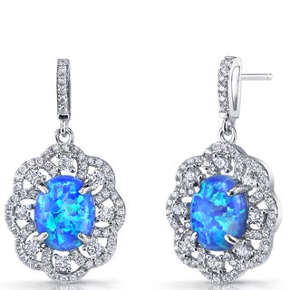 Oravo Blue Opal Sterling Silver Victorian-style Dangling Earrings