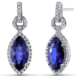 Oravo Sterling Silver Created Blue Sapphire and Cubic Zirconia Marquise Dangle Earrings