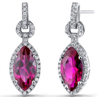 Oravo Sterling Silver 4.5-carat Created Ruby Marquise Dangle Drop Earrings