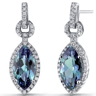 Oravo Sterling Silver 4.5-carat Simulated Alexandrite Marquise Dangle Drop Earrings