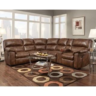 Sofa Trendz Cyndel Brown Faux Leather/Hardwood Sectional