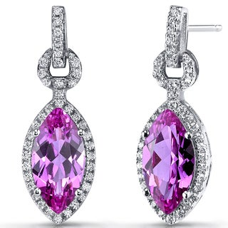 Oravo Sterling Silver Created Pink Sapphire Marquise Dangle Drop Earrings