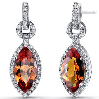 Oravo Sterling Silver 4.5-carat Created Padparadscha Marquise Dangle Drop Earrings