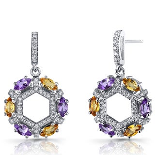 Oravo Sterling Silver, Amethyst, and Citrine Hexagon Dangle Earrings