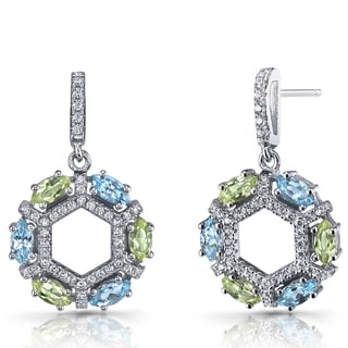 Oravo Sterling Silver Swiss Blue Topaz and Peridot Hexagon Dangle Earrings