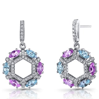 Oravo Pink Sapphire Sterling Silver Hexagon Dangle Earrings