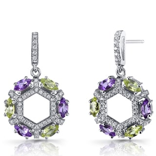 Oravo Sterling Silver Amethyst and Peridot Hexagon Dangle Earrings