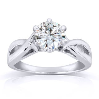 Annello 14k White Gold One Carat Forever One Moissanite Six Prong Crossover Solitaire Engagement Ring