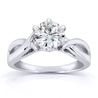 Annello by Kobelli 14k White Gold One Carat Forever One Moissanite Six Prong Crossover Solitaire Eng