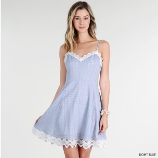 Nikibiki Women's Light Blue rayon Tie-back Sleeveless Denim Dress