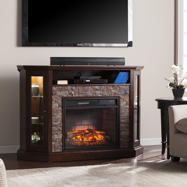 Harper Blvd Ratner Faux Stone Corner Convertible Infrared Electric Media  Fireplace