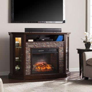 harper blvd ratner faux stone corner convertible infrared electric media fireplace - Fake Fireplaces