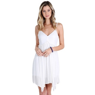 Nikibiki Women's Off-white Rayon Lace Hanky Dress
