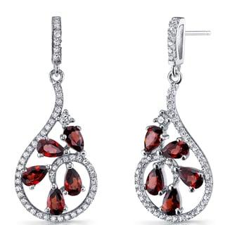 Oravo Women's Sterling Silver 2.5-carat Garnet Dewdrop Earrings