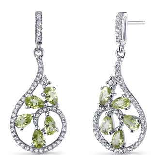 Oravo 2.5 carats Peridot Sterling Silver Dewdrop Earrings