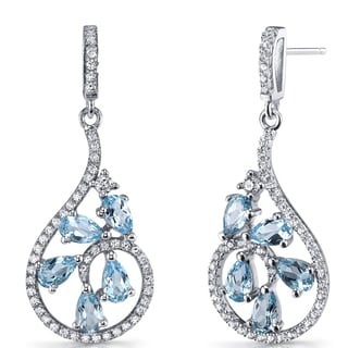 Oravo 2.5 carats Swiss Blue Topaz Sterling Silver Dewdrop Earrings