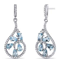 Oravo 2.5 carats Swiss Blue Topaz Sterling Silver Dewdrop Earrings