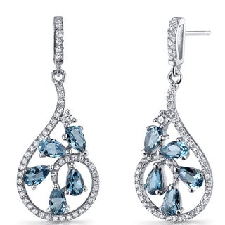 Oravo Women's Sterling Silver 2.5-carat London Blue Topaz Dewdrop Earrings