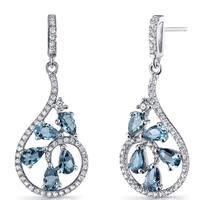 Oravo Women's Sterling Silver 2.5-carat London Blue Topaz Dewdrop Earrings