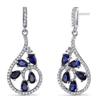 Oravo Sterling Silver 2.5-carat Created Blue Sapphire Dewdrop Earrings