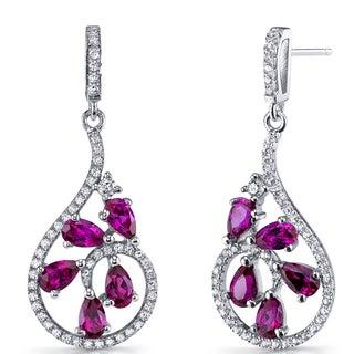 Oravo Sterling Silver Created Ruby Dewdrop Earrings