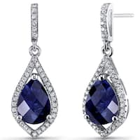 Oravo Sterling Silver Created Blue Sapphire and Cubic Zirconia Tear Drop Dangle Earrings