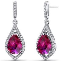 Oravo Sterling Silver Created Ruby Cubic Zirconia Tear Drop Dangle Earrings