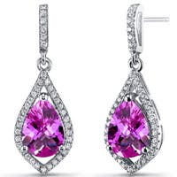 Oravo 5-karat Created Pink Sapphire Sterling Silver Tear Drop Dangle Earrings