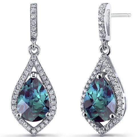 Oravo White Sapphire/Sterling Silver Simualted Alexandrite Teardrop Dangle Earrings