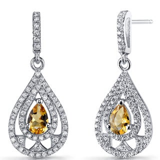 Oravo 0.5 carat Citrine Sterling Silver Chandelier Drop Earrings