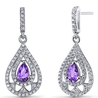 Oravo Sterling Silver 0.5-carat Amethyst Chandelier Drop Earrings