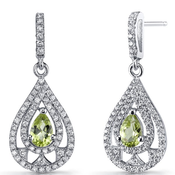 Oravo Sterling Silver 1 Carat Peridot Chandelier Drop Earrings