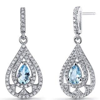 Oravo Women's Sterling Silver 1-carat Swiss Blue Topaz Chandelier Drop Earrings