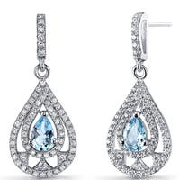 Oravo Women's Sterling Silver 1-carat Swiss Blue Topaz Chandelier Drop Earrings